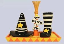 Halloween Witch Hat Boot Shoe Salt Pepper Shaker w/Base