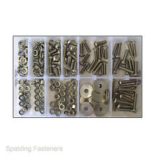 250 Assorted Metric Stainless Steel Socket Button Machine Screws, Nuts & Washers