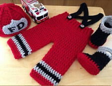 New baby Red firefighters Knit Crochet Clothes hat&pants Photo Prop outfit