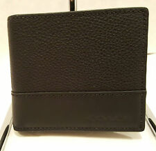 NWT! Coach Leather Black / Black Men's Compact ID Wallet F74634