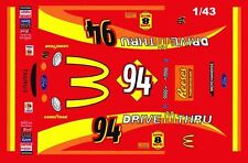 #94 Bill Elliott Mcdonald's Drive Thru 1999 Ford 1/43rd Scale Slot Car Decals