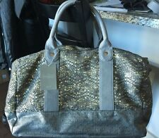 New ANTHROPOLOGIE Audine Gray Sequined Bag by DEUX LUX weekend travel gym office