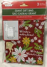 """CHRISTMAS Present Large Giant Gift Bag 36x44"""" RED POINSETTIA Holiday Wrapping"""