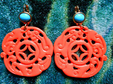 Kenneth Jay Lane Large Turquoise Coral Gold Drop Wire Pierced Earrings
