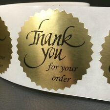 """250 THANK YOU FOR YOUR ORDER 2"""" STICKER Starburst GOLD FOIL NEW THANK YOU"""