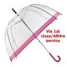 Clear Dome Umbrella with Pink Coloured Border, Handle & Cap