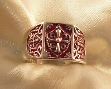 ANELLO ELMO DEI TEMPLARI ARGENTO 925 SMALTO KNIGHT TEMPLAR RED CREST SILVER RING