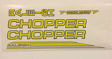 "Raleigh ""CHOPPER MK2"" decal set in Dayglo Yellow/ Black Outline"
