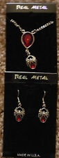 Real Metal Necklace and Earring Set Spider Pendent with Red Stone