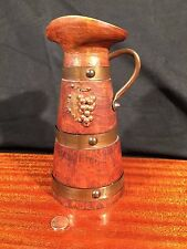 Vintage CARVED WOOD & Copper Ornamental WINE JUG Arts & Crafts DECORATIVE ONLY