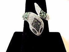 14k white gold snake ring emerald diamond