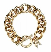 Victoria Secret New Gold Angel Wings Crystal Link Chain Toggle Bracelet Box NWT