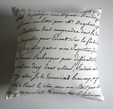 """Odessa"" Black & White Vintage French Provincial Cushion Cover Script, Bicycle"