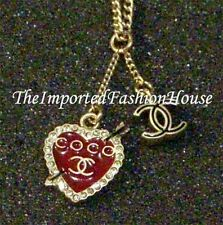AUTHENTIC CHANEL VALENTINE COCO CRYSTAL RED LOVE HEART CC CHARM GOLD NECKLACE