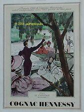 PUBLICITE COGNAC HENNESSY LE CANOTAGE SIGNE P. MOURGUE DE 1939 FRENCH ADVERT PUB