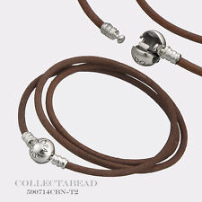 Authentic Pandora Silver Small Friendship Brown Leather Bracelet  590714CBN
