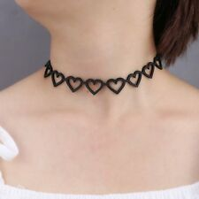 Elastic Black Heart Necklace Leather Collar Choker Chocker Womens Lady Jewellery