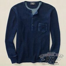 $245 RRL Ralph Lauren RINSED BLUE INDIGO DYED COTTON HENLEY SWEATER- MEN- XL