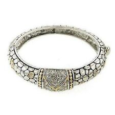 Two Tone Designer Inspired Bangle With Clear Rhinestones