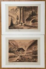 TWO(2) VINTAGE ORIGINAL CALIF/GERMANY HERMANN RICHTER(1875-1941) PASTEL/PAPER
