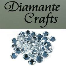 50 x 12mm Clear Diamante Loose Round Flat Back Rhinestone Craft Embellishments