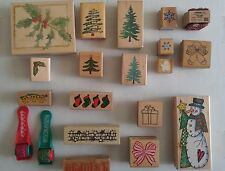 Lot of 20 Christmas Theme Rubber Stamps includes 2 Rollers Stampabilities & More