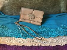 Handbag Fossil Marlow Leather Taupe Credit Card Wallet Phone Case Snap Wristlet