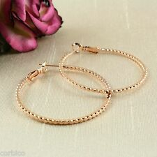 E11 Rose Gold Plated 4cm Patterned Creole Hoop Earrings - Giftpouch