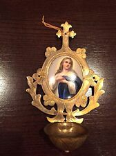 Antique Painted Enamel Porcelain Mary Magdalene Holy Water Font