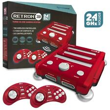 Retro 3 Trio / 3 in 1 Game Console Super Nintendo/ NES/ SNES Sega Genesis - Red