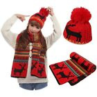 Christmas New Year Winter Red Black Reindeer Scarf Hat 2 Pcs Set Thick Warm Wrap