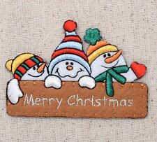 Iron On Embroidered Applique Patch Christmas Merry Christmas Sign with Snowman