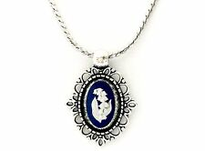 Authentic, Wedgwood Jasperware Cameo in Silver Plated Pendant w/ Wedgwood Chain