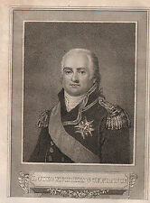c1830 GEORGIAN PRINT ~ LOUIS THE XVIII KING OF FRANCE ~