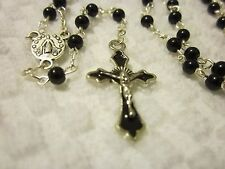 Lovely Handmade Black Beaded Rosary w/ tiny glass pearl beads     #R4-10-9