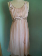 LADIES TAN OVER PINK CHIFFON KAYSER NIGHTGOWN LINGERIE USA ESTATE SZ 32