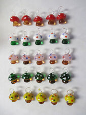 MUSHROOM Pendants lot of 25 Glass SHROOMS Mixed Colors WHOLESALE Charms New