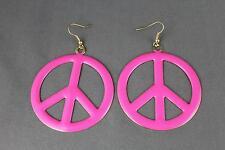 """enamel painted big Peace Sign hoop dangle earrings hoops lightweight 3"""" long"""