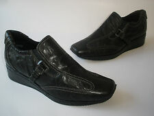 ANTIA LEATHER WEDGE BLACK LOAFERS SHOES SIZE US 7.5 VERY NICE NEW SALE