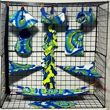 Zach Tie Dye * 15 piece Sugar Glider Cage set * Rat * double layer Fleece