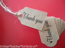 10 Kraft Brown Gift Swing Tags Wedding Favour Thank You Mini Bomboniere Party
