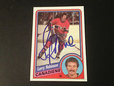 Larry Robinson HOF Canadiens 1984-85 Topps Hockey Signed Auto Card