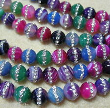 "Multi Color Agate w Channel Crystals 8mm Round Beads 16"" Pink Blue Purple Green"