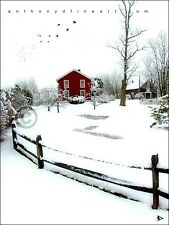 """ORIGINAL ACEO PAINTING """"RED WINTER HOUSE"""" SNOWY PRINT By Anthony D"""