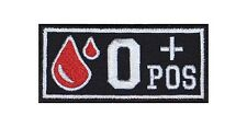 0 POS + GRUPPO SANGUIGNO PATCH RICAMATE BADGE Blood Type Biker Rocker STAFFA immagine tonaca