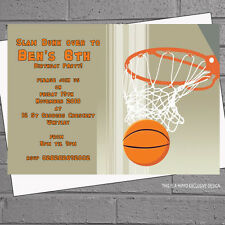 Personalised Basketball Shoot Hoop Birthday Party Invitations x 12 +envs H0734