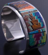Silver & Multistone Layout Navajo Inlay Bracelet by Tommy Jackson 7A27L