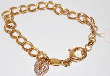 NWT FOSSIL Gold Metal Double Round Links Charm Bracelet *Just add charms!*