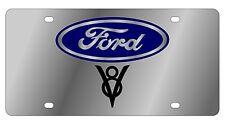 New Ford V8 Blue Logo Stainless Steel License Plate