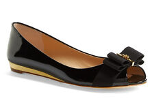 NIB TORY BURCH Trudy Open Toe Bow Black Patent Leather Logo Wedge Flat 10.5 Shoe